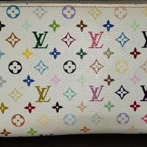 LV White multicolored Murakami long zippy wallet